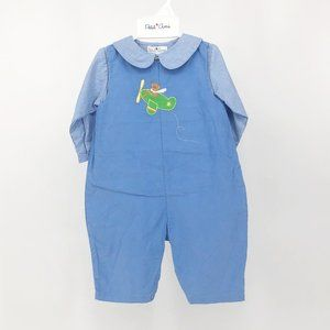 Petit Ami Blue Gingham Cord Outfit 6M